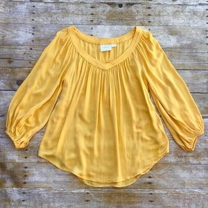 Anthro Maeve Golden Yellow Peasant Top Blouse